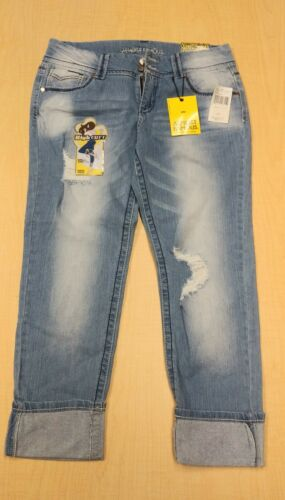 High Cuff Blue Jeans by Almost Famous, Medium Wash, Junior Girls, Size 13