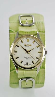 Activa Watch Womens Stainless Silver Gold Lime Green Leather 30m White Quartz