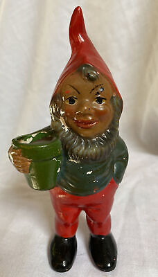 """Vintage Gnome Holding Flower Pot, Foil Sticker - Columbus, Made in Germany, 5.5"""""""