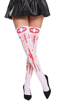 Ladies Tights Nurse Halloween White Blood Red Smeared Zombie