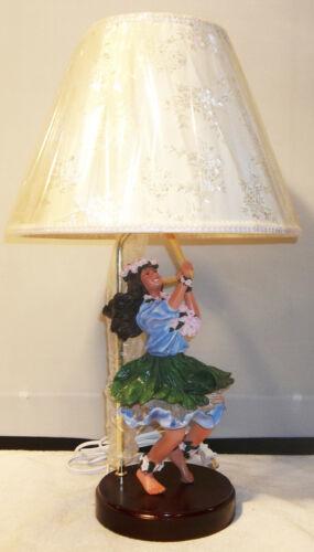 MODERN DANCING HULA GIRL RESIN STATUE TABLE LAMP