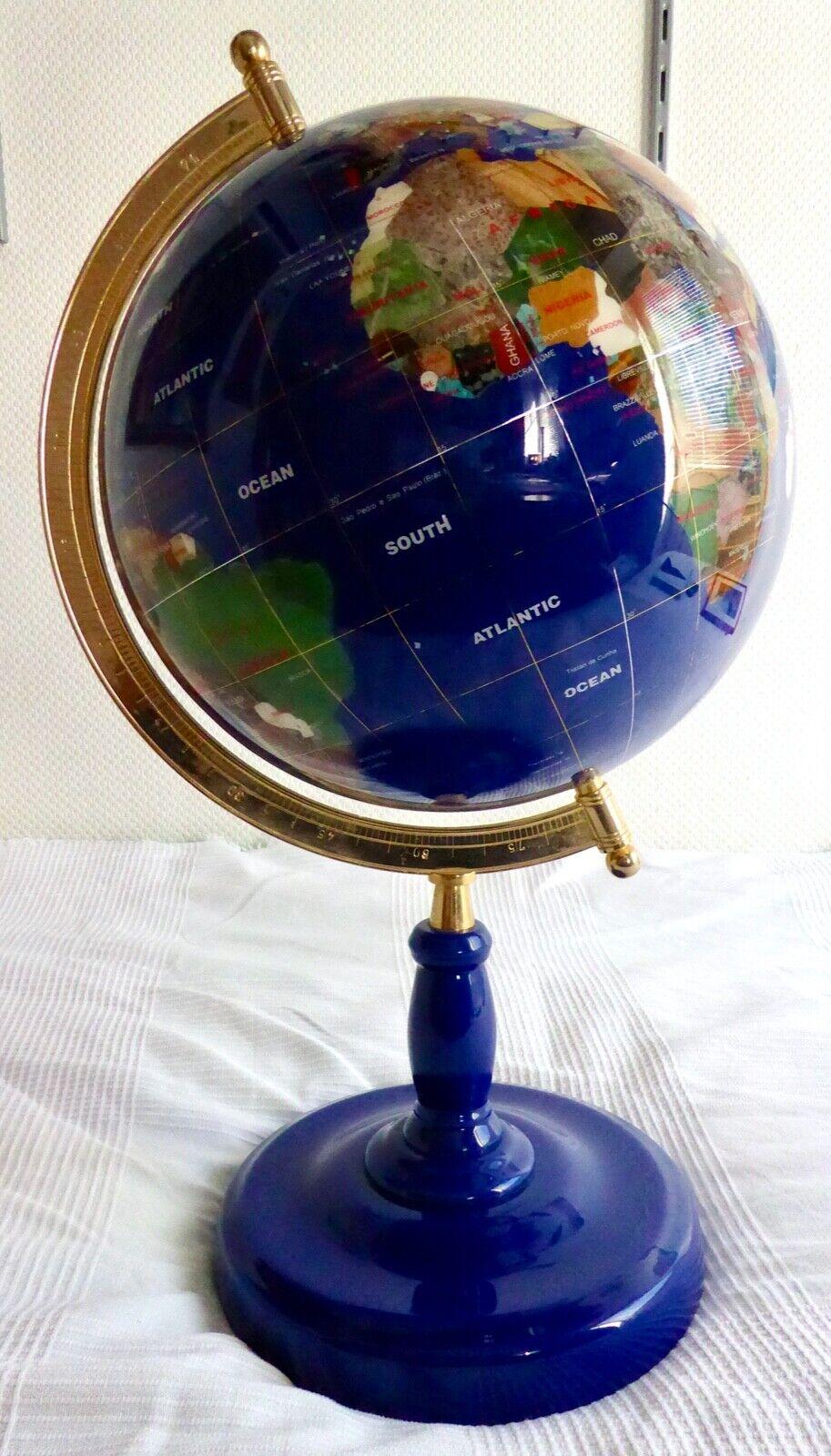 Edelsteinglobus, Globus aus Edelsteinen - Höhe 65 cm, super Zustand