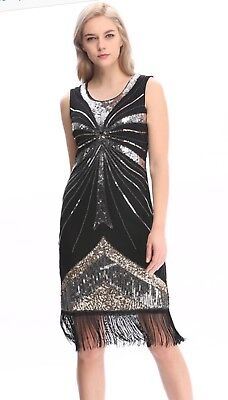 dress gatsby flapper 1920s size beaded vintage 6 fringe sequin s uk 24 14 great - Fringe Flapper Kleid Kostüm