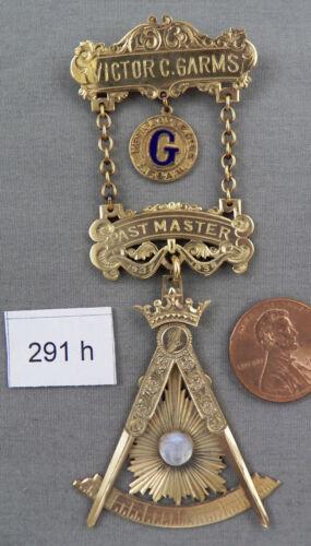 Antique 10K Solid Gold Masonic Past Master Medal, Mesa Lodge No. 55, 1937-38