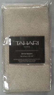 NIP TAHARI HOME IVORY/GOLD SET OF 8 TABLE NAPKINS