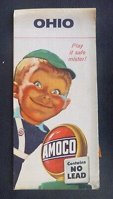 1957 Ohio road map Amoco oil   gas