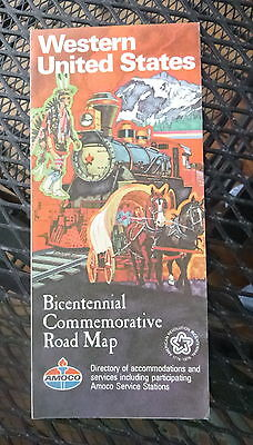 1976 Western United States  road  map Amoco  oil gas route 66 Bicentennial