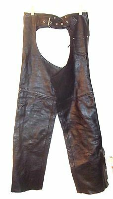 (Leather King Black Leather Motorcycle Riding Chaps Pants- 24