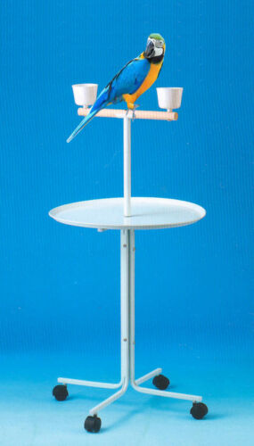 """Large 46"""" Metal Base Parrot Amazon African Grey Macaw Cockatoo Play Stand Cups"""
