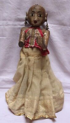 Indian Old Vintage Hand Made Unique Wooden Lady Statue Decorative MD 036