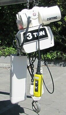 Coffing 3 Ton Electric Chain Hoist W Trolley 460v 3 Phase 22 Ft Length 6000 Lbs