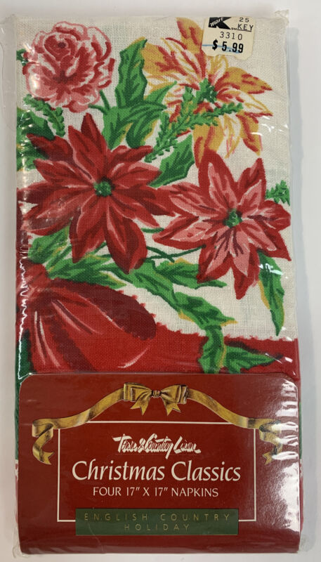 """VTG 1990 Town & Country Linen Christmas Floral Napkins 4 Pack 17""""x17"""" NOS"""