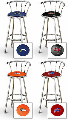 Fc114 New 29  Tall Sports Logo Themed Chrome Finish Metal Swivel Seat Bar Stools