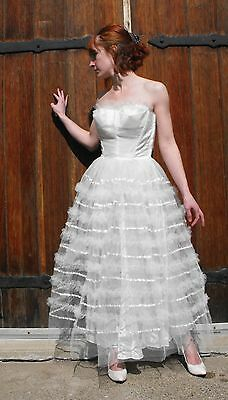 50s Wedding Gown Strapless Formal Bridal Vtg White Tulle 1950s Bride XS XXS