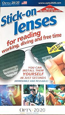 Optx 20/20 (Hydrotac) Stick On Reading Lenses Bifocal - +1.25 magnification