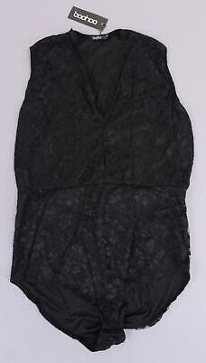 Boohoo Women's Plus Sleeveless Lace Bodysuit SH3 Black Size UK:20 US:16 NWT