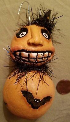 OOAK Halloween Gourd Ornament, Hand Painted Bats, Pumpkin, Ghoul. Nice! - Hand Painted Gourds Halloween