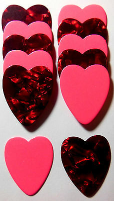 12pk Red Pearl & Pink Heart Shaped Guitar Picks .71mm Celluloid Medium Blank pic ()