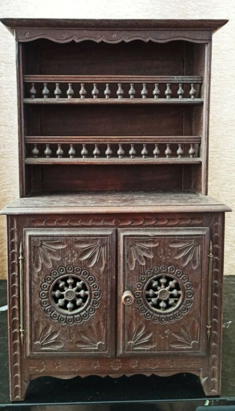 French Brittany Miniature Doll Pewter Cupboard / Sideboard, c. 1910