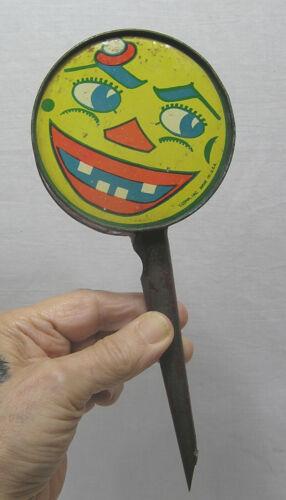 Vtg HALLOWEEN 1920s Tin Rattle Horn Noisemaker T. Cohn Two Sided Face