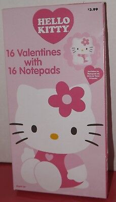 Hello Kitty Valentine Exchange Cards with Notepads School Valentines Day Party (Valentine Exchange Cards)