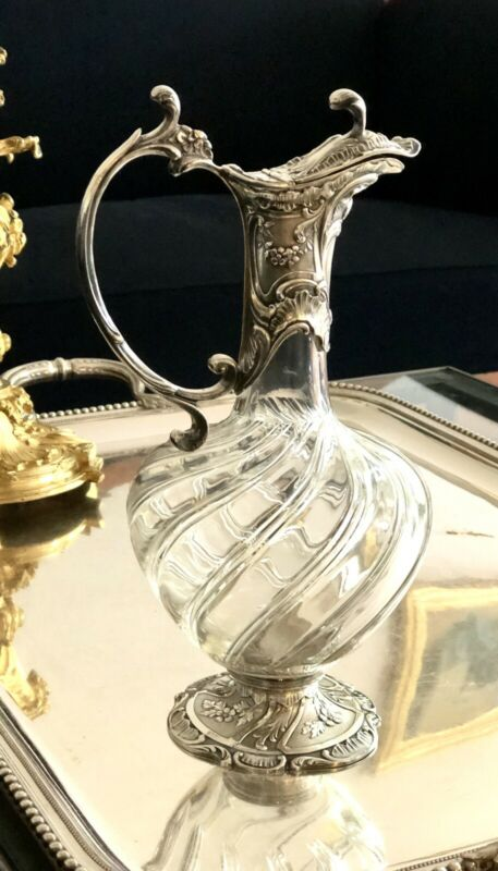 ANTIQUE CHRISTOFLE GALLIA SILVER PLATED & BACCARAT CRYSTAL CARAFE DECANTER