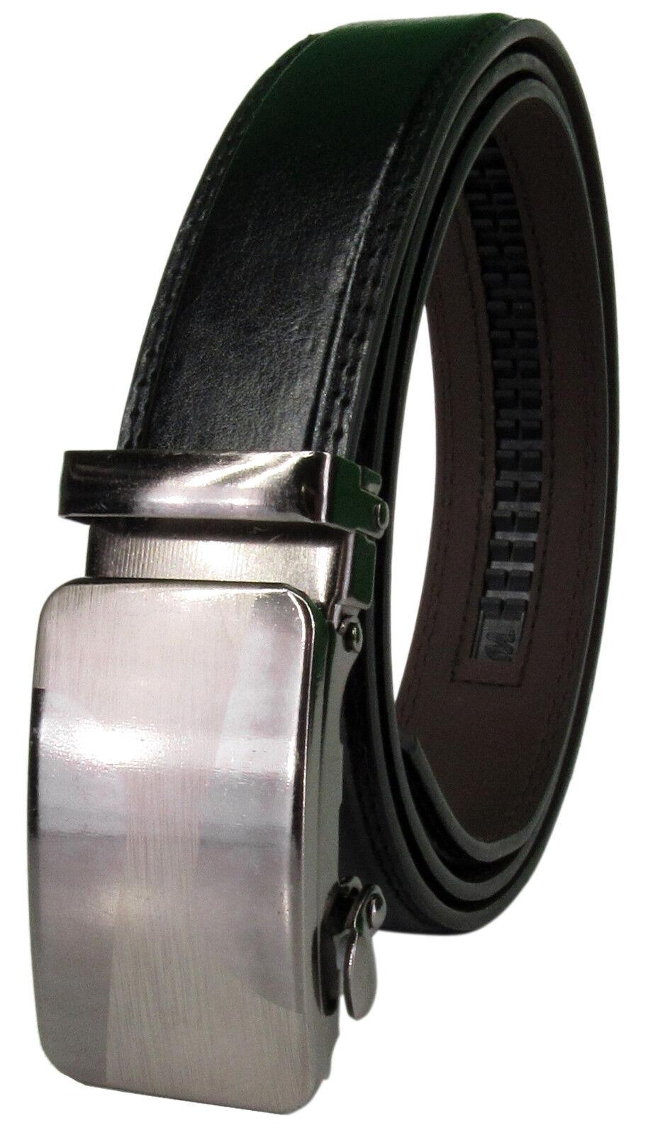 Men Genuine Leather Automatic Ratchet Click Lock Buckle Belt Designer StyleCA101 Belts