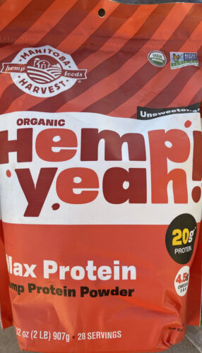 Manitoba Harvest Hemp Yeah! Max Protein Powder Unsweetened 2.0lb 32.0oz EX3/2021