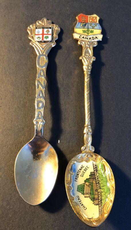 2 Vintage Collector Spoons - Chateau Frontenac - Quebec & Montreal, Canada
