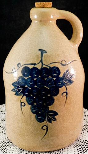 Antique Stoneware Blue Grape & Leaf Salt Glaze Crockery Moonshine Jug