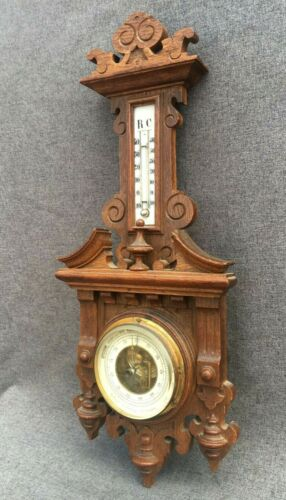 Antique black forest barometer thermometer wood early 1900