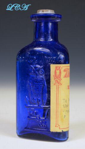 OWL DRUG Co POISON bottle w/ COLORFUL LABEL deep COBALT BLUE color TRIANGLE abm