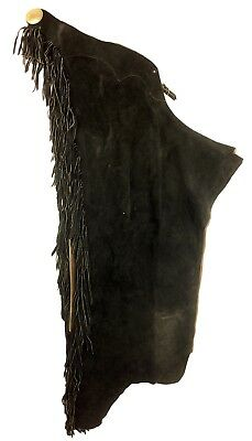 "Black Suede Leather Fringed Chaps 31-38"" Waist Good Thick Weight"