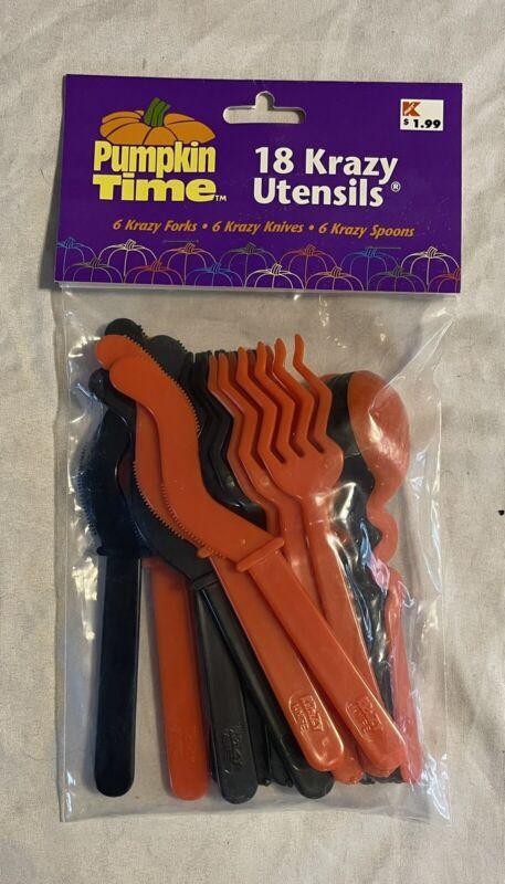 Halloween Spookyware Krazy Utensils Orange Black Knives Forks Spoons Fun-Time
