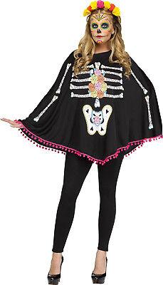 Adult Black Day of the Dead Skeleton Poncho Costume Sugar Skull Muertos Women (Sugar Skull Skeleton Costume)