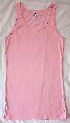 NEW Bella Ladies Sheer Rib Tank Top Longer Length Shirt Pink 2XL Ladies Sheer Rib Tank