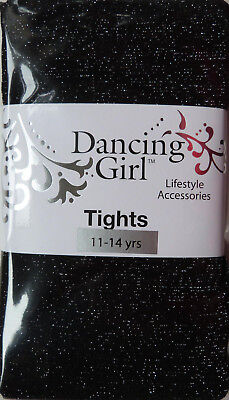 Dancing Girl Glittery Black Tights with Silver Sparkle for 11-14 years