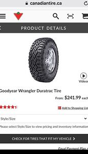 Good year wrangler 225/75 16 rim