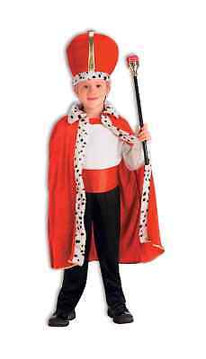 Child Red King Robe & Crown Queen Costume Royal Cape Boy's Girls Wiseman Fur
