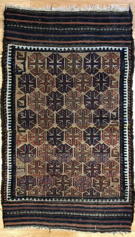 Beautiful Balouch - 1900s Antique Persian Rug - Camel Hair - 2.10 X 4.7 Ft.