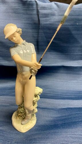 """Nao By Lladro #0451G """"FORE"""" Golfer 11"""" Spain Porcelain Sculpture Figurine 1985"""