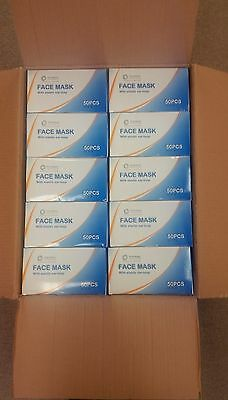 2000 Masks 1 Case. 40 Boxes Surgical Disposable 3-ply Earloop Face Masks