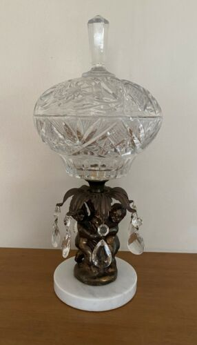 Vintage Lead Crystal Candy Dish With Crystal Tears Hollywood Regency Marble