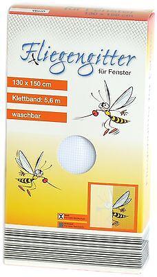 FENSTER FLIEGENGITTER FLIEGENNETZ 130 x 150 cm weiß NEU Moskitonetz Insektennetz