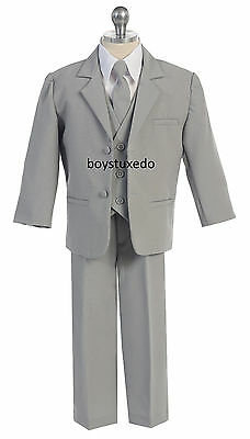Boy's 5 Piece Grey Gray Silver Formal Tuxedo Suit  Infant Toddler Teen All Sizes - Boys Grey Suit