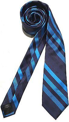 (Mens Express Neck Tie Slim Skinny 100% Silk Navy Royal Blue Narrow New)