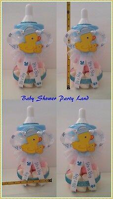 Duck Baby Shower Boy Centerpiece Duckling Bottle Large Piggy Bank Table Decor for sale  San Bernardino