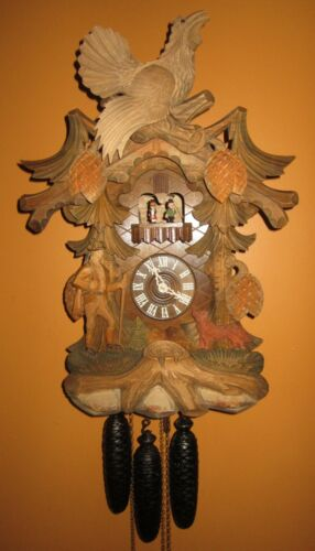 BLACK FOREST MUSICAL ANIMATED WITH SPINNING DANCERS CUCKOO CLOCK 8-DAY, LARGE