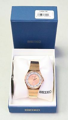 Seiko Gold Steel Bracelet & Case Hardlex Quartz Date Watch SXDF74 NEW! 30164