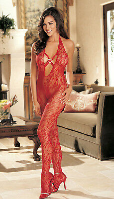 Red HOT stretch lace Heart Stocking Plunge Bodysuit 0/S Shirley Of Hollywood new